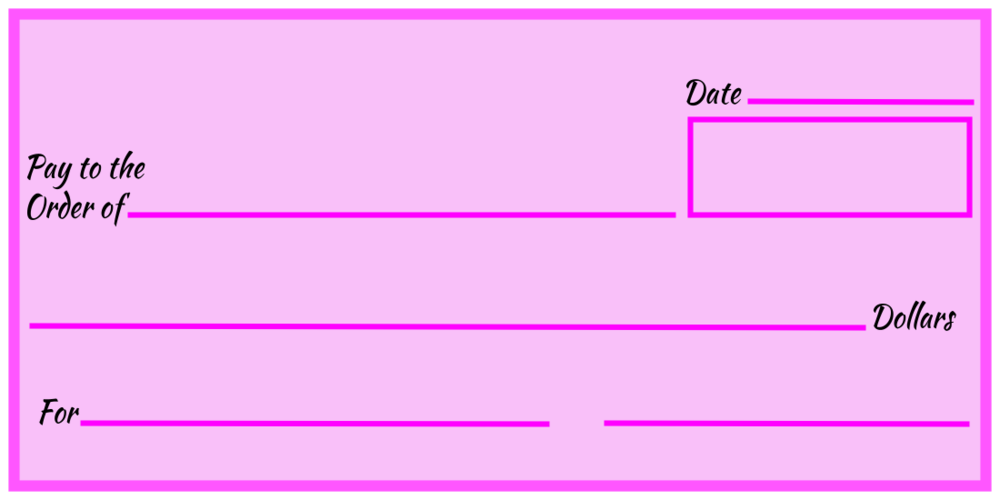 Over-Sized Check (Pink Blank)